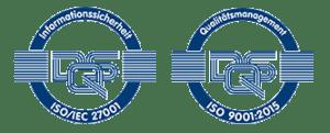 Zertifikatsiegel ISO 27001 und ISO 9001