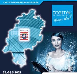 Virtuelle Hessenkarte mit einer virtuellen Frau, die ein Tablet in der Hand hält.