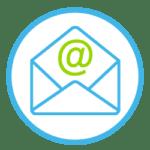 Icon zeigt einen Briefumschlag mit einem @-Zeichen für eine Email.