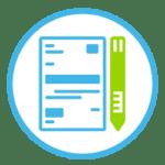 Icon zeigt ein Blatt Papier mit einem Stift.