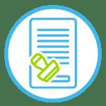 Icon zeigt ein Dokument, dass mit einem Stempel genehmigt wird.