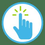 Icon zeigt eine Hand, die auf etwas klickt.