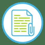 Icon zeigt ein Blatt Papier mit einer Büroklammer.
