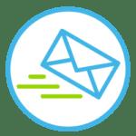 Icon, das einen Briefumschlag anzeigt, der automatisch versendet wird.
