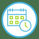 Icon, das einen Terminkalender und eine Uhr anzeigt.