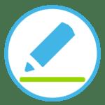 Icon zeigt einen Stift, der etwas unterschreibt.